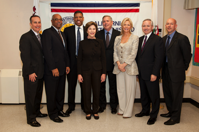 Mrs. Bush attended a roundtable discussion at Benjamin Franklin intermediate school